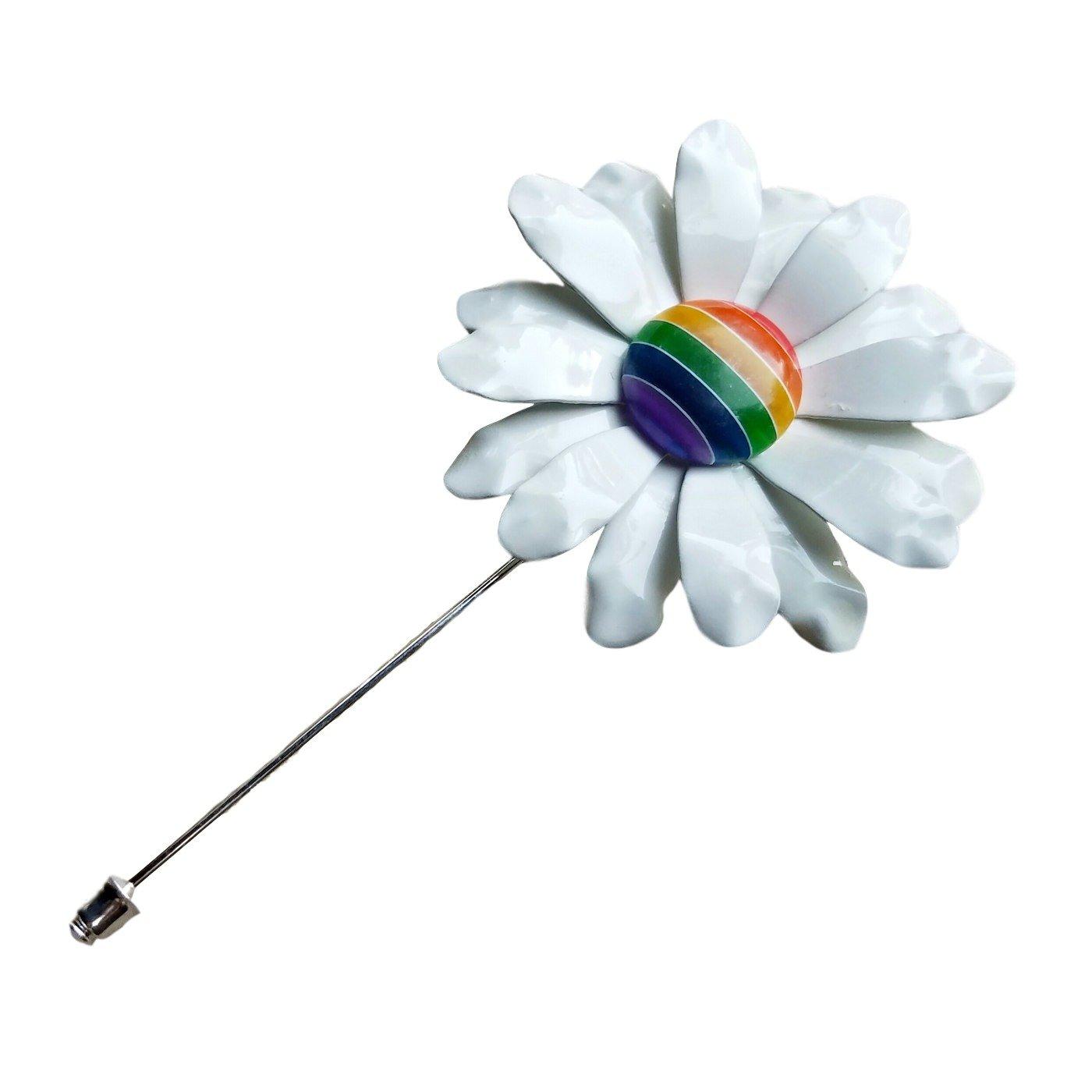 Rainbow Lapel Flower Pin, Ruffled Daisy