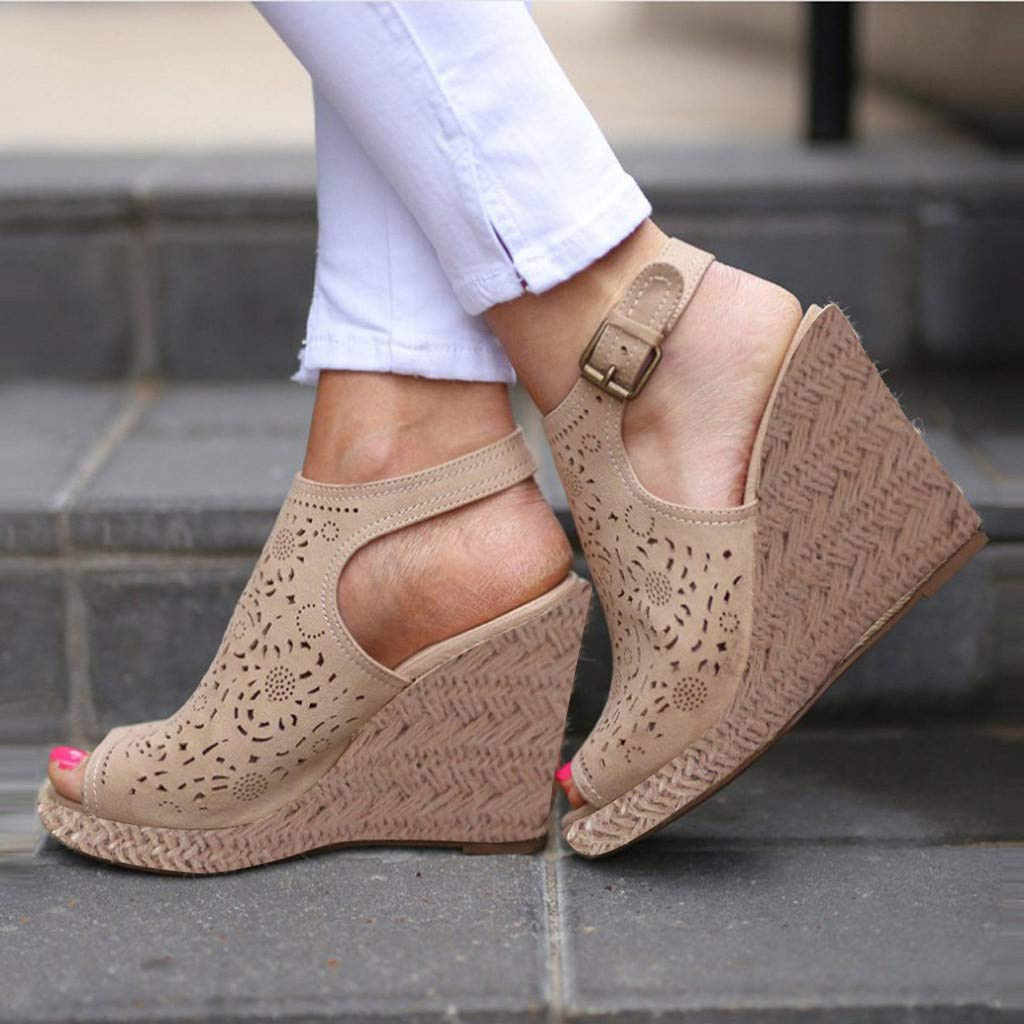 LUCAMORE Womens Fashion Hollow Wedges Peep Toe Straw Thick Bottom Shoes Roman Sandals by LUCA-Sandals (Image #3)