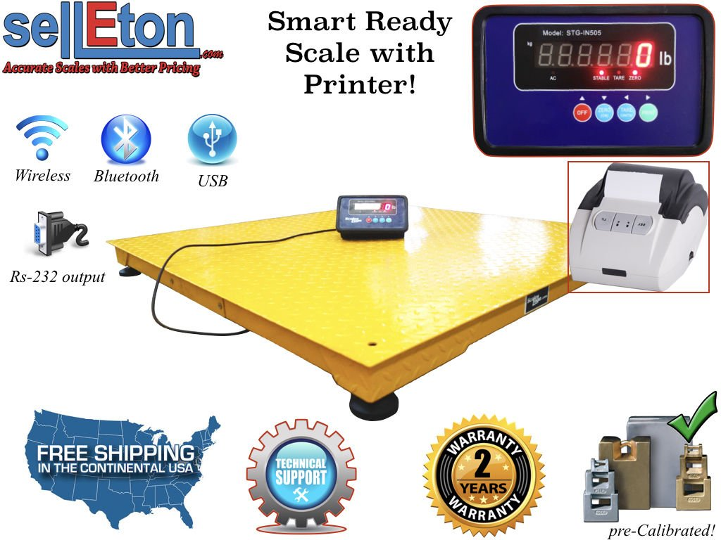 Selleton Industrial Pallet Size 48'' X 48'' 4' X 4' Floor Scale & Printer 10,000 Lbs X 1 Lb by Selleton