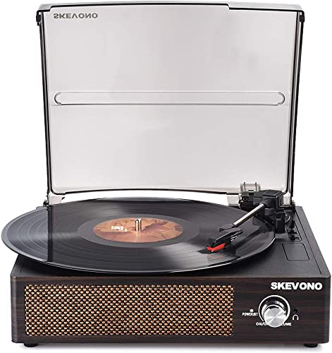 Record Player, SKEVONO Portable 3 Speed Vinyl Turntable, Bluetooth Vintage Record Player with Built-in Speakers, Supports Headphone Jack Aux Input RCA Line Out Coffee Brown Wooden