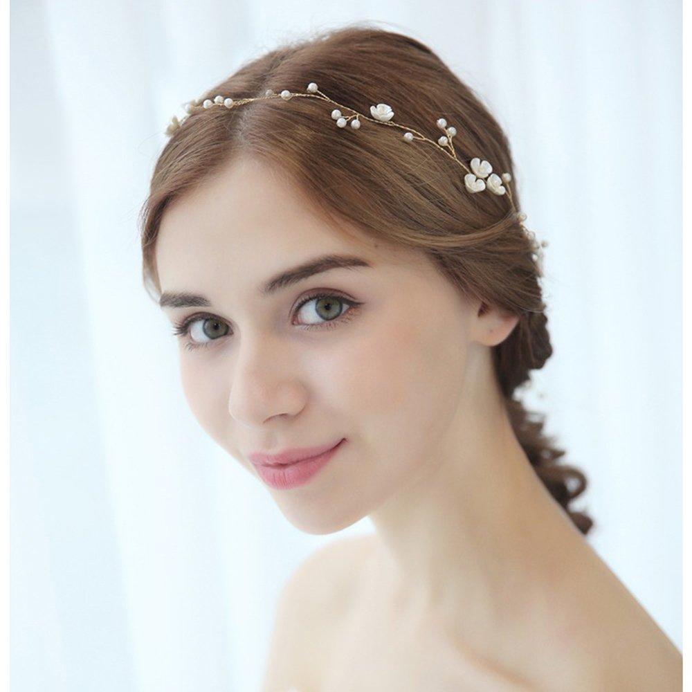 BD/_Women 50cm pearl rhinestone headbands wedding hair vine bridal accessories0cn