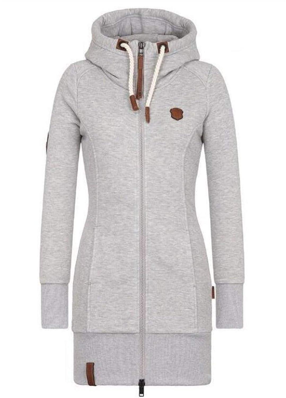 CRYYU Women Zip Up Casual Hoodie Solid Pocket Fleece Lined Sweatshirt Jacket