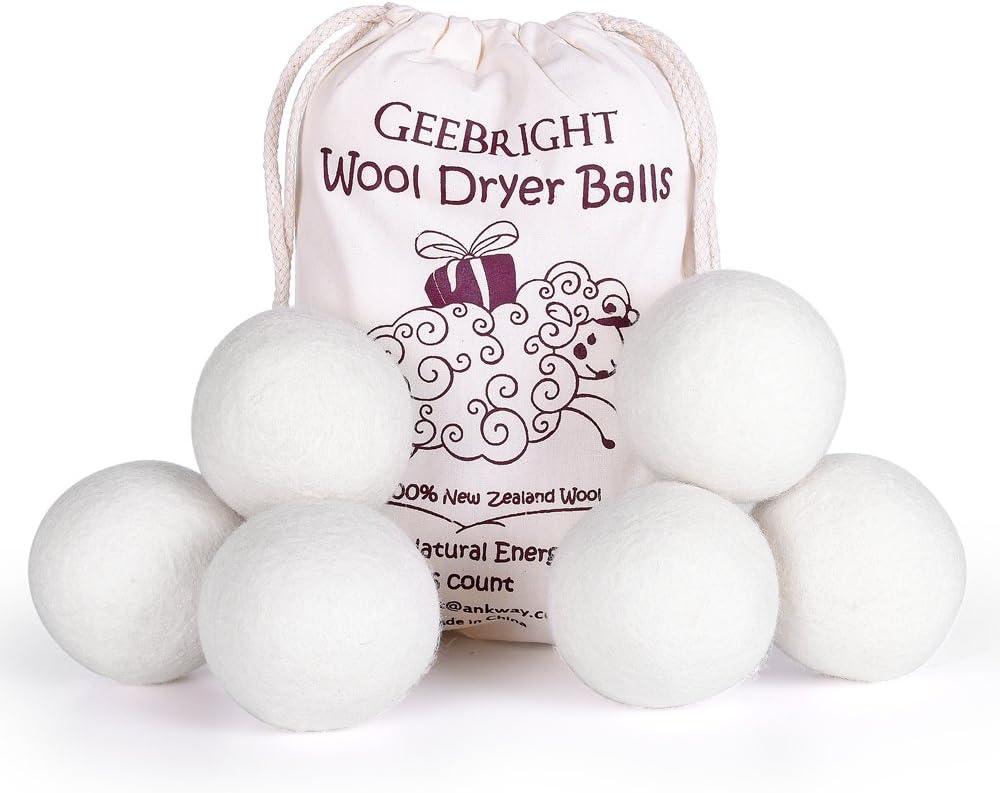 Geebright Bolas de Lana Secador Antiestres Pure Natural de Nueva Zelanda Secador de Lana de Bolas de Lana Bolas Reutilizables para Secadora (Juego de 6, Blanco)