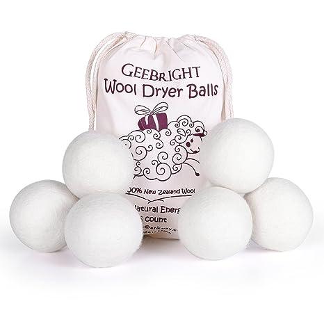 Geebright Bolas de Lana Secador Antiestres Pure Natural de Nueva Zelanda Secador de Lana de Bolas