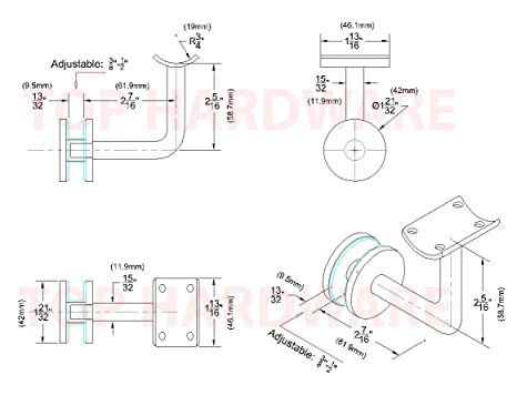 Amazon Com Stainless Steel Glass Mount Stair Handrail Bracket For 3