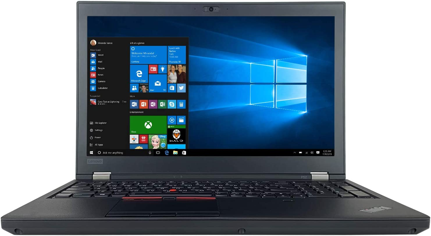 "Lenovo ThinkPad P52 15.6"" Full HD Laptop - 8th Gen Intel Core i7-8750H Processor up to 4.10 GHz, 128GB DDR4 RAM, 2TB (1TB x 2) M.2 Solid State Drive, NVIDIA Quadro P1000 4GB GDDR5, Windows 10 Pro"