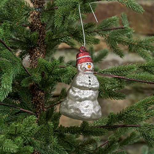 Mercury Glass Snowman With Bucket Hat Ornament Set/2 (Mercury Snowman Ornament Glass)