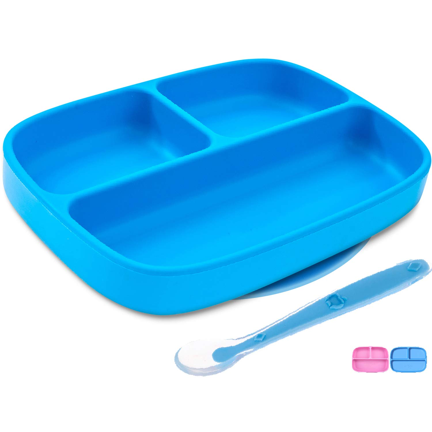 Silikong Suction Plate for Toddlers + Silicone Spoon   BPA Free, FDA Approved   Microwave, Dishwasher and Oven Safe   Stay Put Divided Baby Feeding Bowls and Dishes for Kids and Infants (Blue) by Silikong