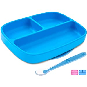 Silikong Suction Plate for Toddlers + Silicone Spoon | BPA Free, FDA Approved | Microwave, Dishwasher and Oven Safe | Stay Put Divided Baby Feeding Bowls and Dishes for Kids and Infants (Blue)