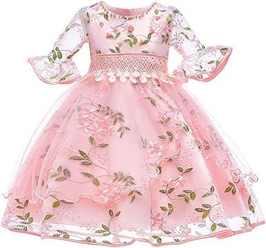 POLP Vestidos Niña Encaje Disfraz de Princesa Mangas Larga con Estampado para Niña Primavera Verano Falda Otoño Falda Camisetas de Manga Larga 0 a 7 años Falda Princesa Rosa: Amazon.es: Ropa y