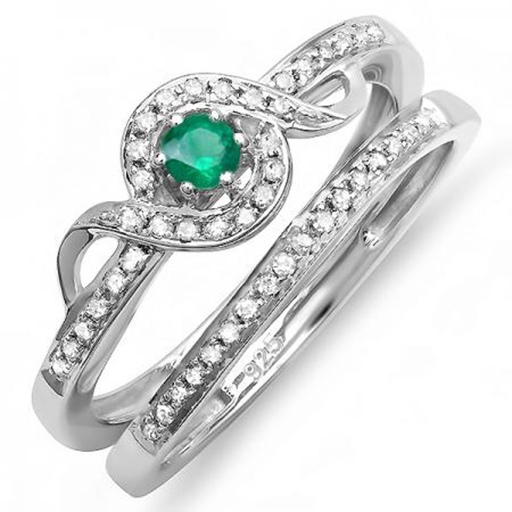 Sterling Silver Round White Diamond And Emerald Bridal Promise Ring Set Matching Band (Size 5)