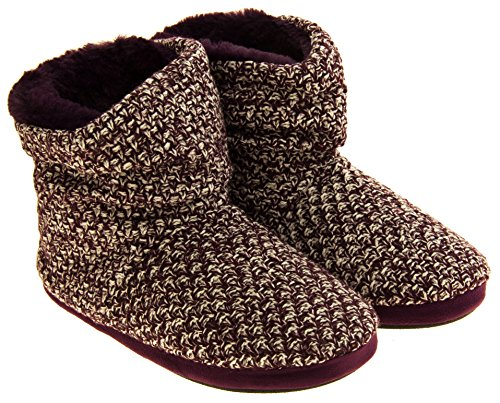 61tmHTS1kBL - Coolers Womens Plum Warm Knitted Winter Fur Lined Slipper Boots 9-10 B(M) US