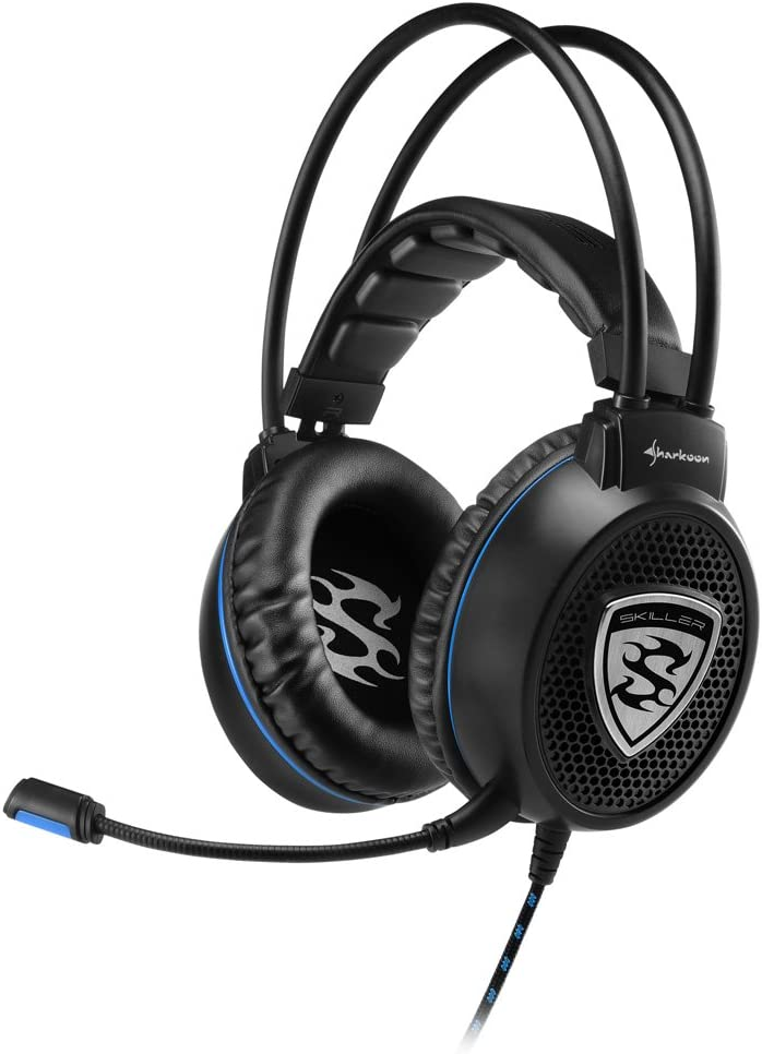 Sharkoon SGH1 - Auriculares Gaming con Cable, Estéreo, Micrófono, Negro/Azul