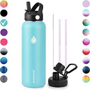 SENDESTAR Stainless Steel Water Bottle-12oz, 24oz, 40oz or 64oz with New Straw Lid or Spout Lid Keeps Liquids Hot or Cold with Double Wall Vacuum Insulated Bottle (40 oz-Mint)