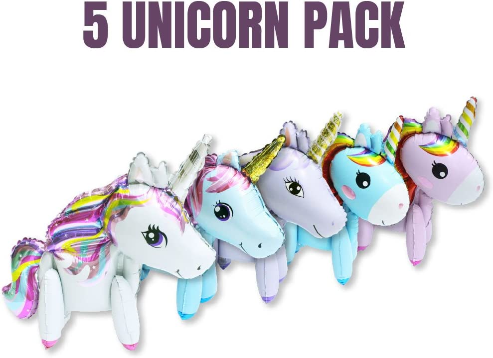5 pack Large Original 2ft Tall Standing Unicorn Buddies, Unique Unicorn Balloons, perfect Unicorn decor, great for Unicorn birthdays, Unicorn Foil Balloon requires no Helium, Easy 2 Step setup