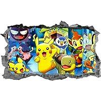 Cartoon Stickers Muurstickers Pokemon Kids Stickers 3D Decals Muur Art Slaapkamer Muurschildering 55X60Cm