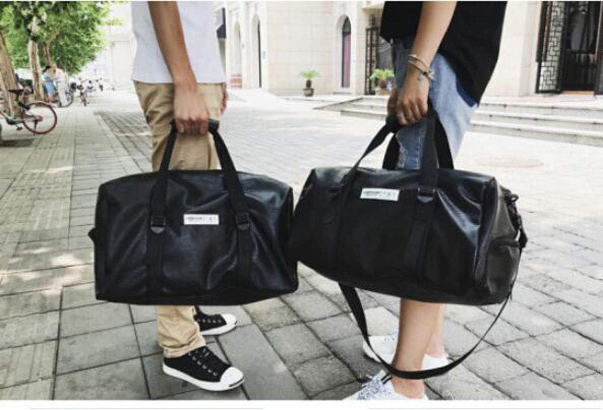 Black Large Size: 472526 Travel Duffel Bag for Men and Women Large Capacity Light Short Travel Bag ZHICHUANG Fitness Bag PU Leather Boarding Travel Bag