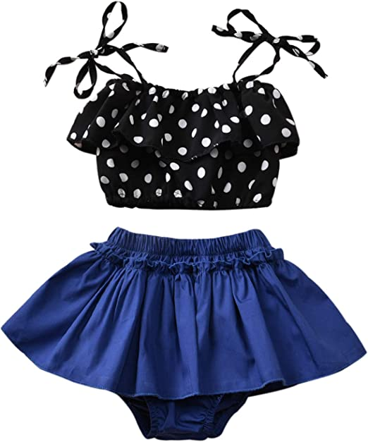 Baby Girl Swimsuit One Shoulder Bikinis Ruffle Floral Skirt with Headband 3 Piece Swimwear