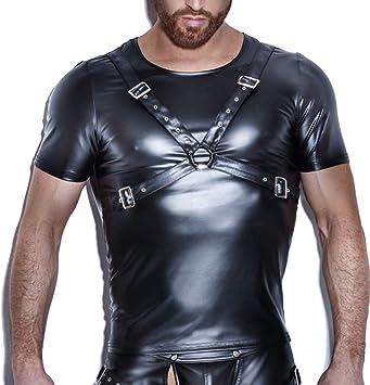 KILLM Sexy Hombre Cuero Wet Look Camisa Elástica Lencería Chaleco Camiseta Flaca de Charol con Tirantes: Amazon.es: Deportes y aire libre