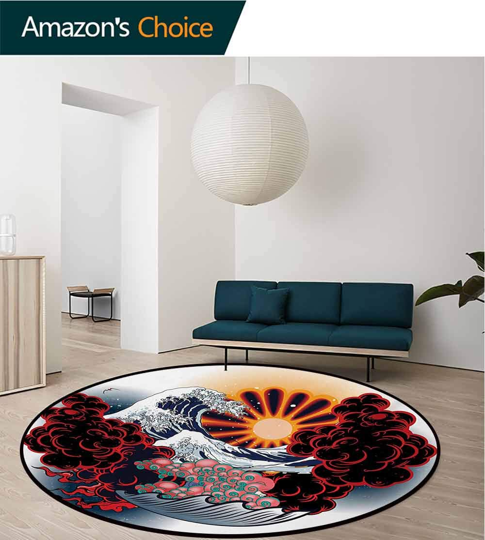 RUGSMAT Tattoo Modern Machine Washable Round Bath Mat,Japanese Landscape of Rising Sun Waves with Red and Pink Foam Asian Print Non-Slip Soft Floor Mat Home Decor,Round-59 Inch Red Blue and Yellow