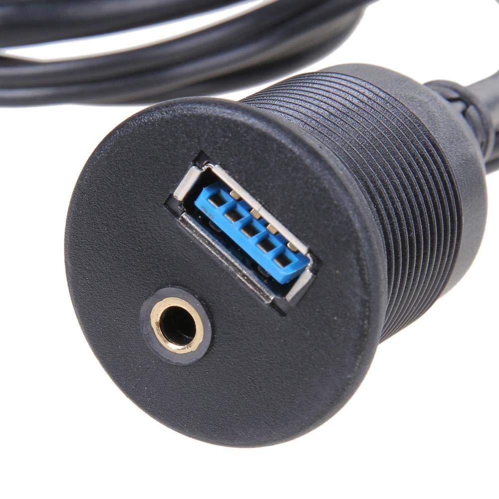 Panneau enfichable de Tableau de Bord de Voiture USB RCA encastr/é Installation USB 3.0 3.5MM AUX Installation int/égr/ée m/âle /à Un c/âble de rallonge Femelle C/âble de Montage du Panneau de Bord