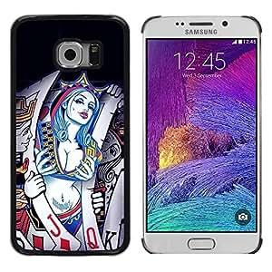 Exotic-Star ( Sexy Cards Queen Hearts ) Fundas Cover Cubre Hard Case Cover para Samsung Galaxy S6 EDGE / SM-G925 / SM-G925A / SM-G925T / SM-G925F / SM-G925I