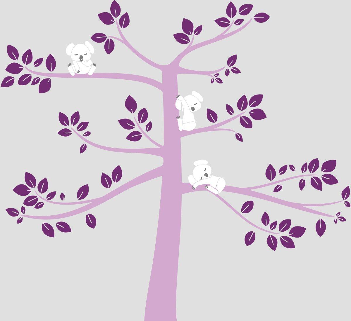 Light Brown//Violet//Lilac//Charcoal 148050081040042073000000-OB LittleLion Studio 148050081040042073000000 Modern Koala Cuteness Wall Decal