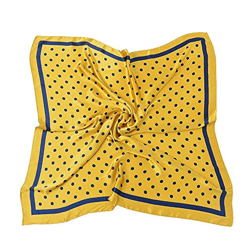 are Silk Like Scarves Vintage Dots Head Scarf 27inch (Gold Yellow) ()