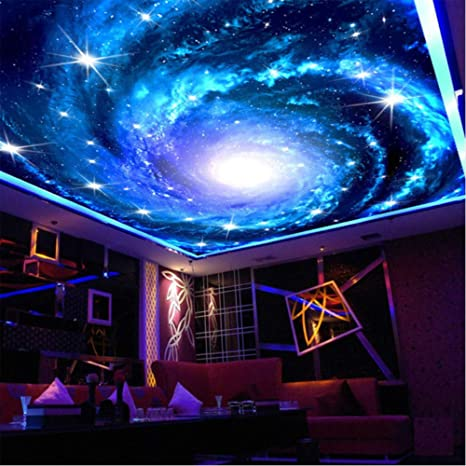Hwhz Custom 3d Photo Wallpaper Galaxy Star Ceiling Fresco