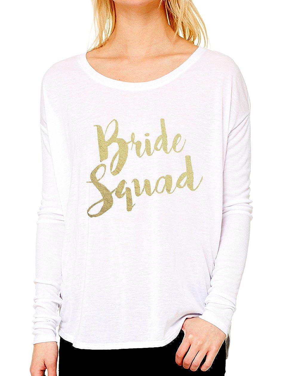White Emdem Apparel Bride Squad Bridal Shower Long Sleeve Womens Shirt