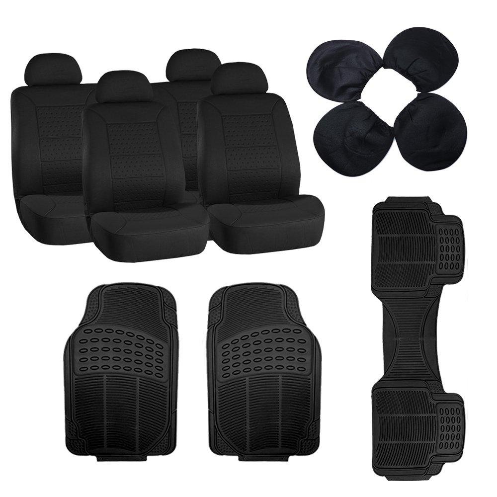 Scitoo 11-PCS Front Rear Car Floor Mats Black Car Seat Covers for Heavy Duty Vans Trucks