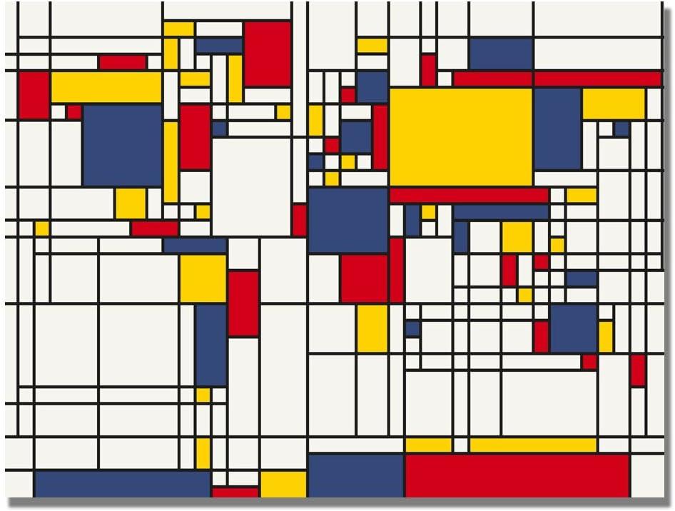Amazon Com Mondrian World Map By Michael Tompsett 18x24 Inch Canvas Wall Art Prints Posters Prints