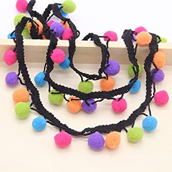 c21d89b04d Amazon.com: 1yard/lot Pom Pom Trim Ball Fringe Ribbon DIY Sewing ...