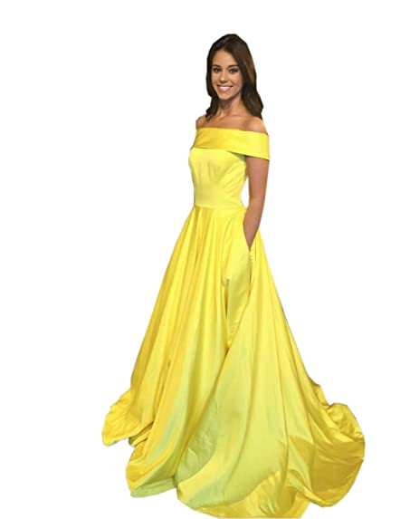 a961429c2f4 Mollybridal Satin Off Shoulder Long Prom Dresses With Short Sleeves Pockets  Zipper Back Yellow 2