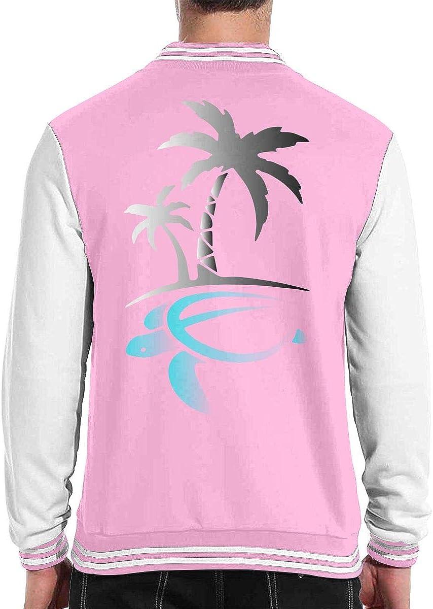 Hawaiian Palm Tree and Sea Turtle Unisex Baseball Uniform Jacket Sport Coat Varsity Baseball Sweater Pink