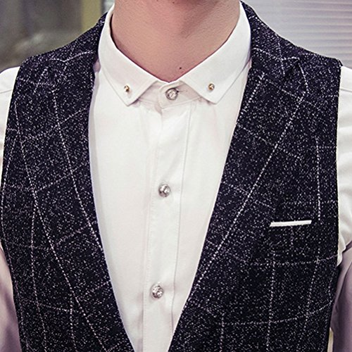 Lattice High Big Mens Turn Down Printed Zhuhaitf Soft Suit Tall suave negro Quality Collar Long Vest Waistcoat and nIfwwqF