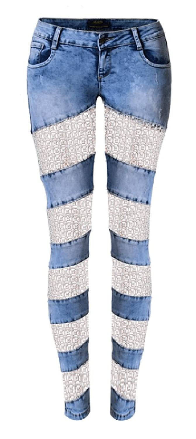 Allonly Women's Sexy Skinny Fit Stretch Low Rise Hollow Out Lace Patchwork Jeans Pencil Pants