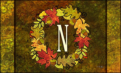 Fall Welcome Wreath (Toland Home Garden Fall Wreath Monogram N 18 x 30 Inch Decorative Autumn Floor Mat Colorful Leaves Doormat)