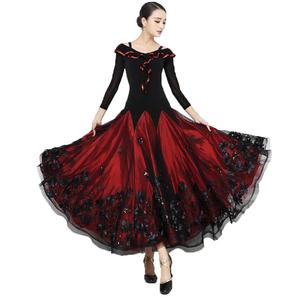 最高の 社交ダンス ドレス ワンピース XL|レッド 大きい裾 モダン ラテン 衣装 ダンス 衣装 ラテン ダンス衣装 ワンピース タンゴ 衣装 ドレス 社交ダンス ラテンドレス B07DHPWL2R XL|レッド レッド XL, TAKANNA:30e5bbca --- domaska.lt