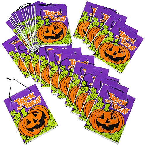 Halloween Drawstring Goody Bag - Pack of 36 Assorted Spooky Plastic Craft Supplies for Trick and Treat, Birthdays, Party Favors, Candy -