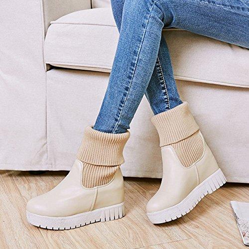 Charm Foot Mujeres Comfort Hidden Heel Plataforma Botas Cortas Beige