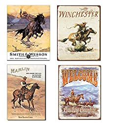 Vintage Cowboy Tin Sign Bundle - Smith & Wesson Hostiles, Winchester, Marlincowboy On Horse & Welcome Cowboy Country