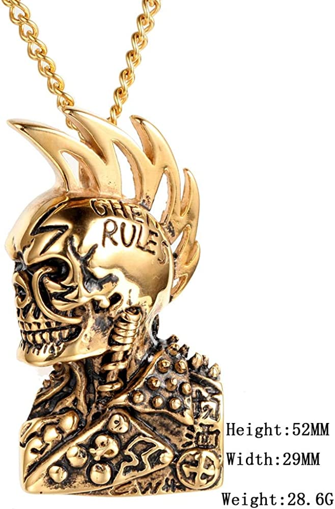 Inveroo Stainless Steel Men Necklaces Chain Pendants Skull Gothic Punk Rock Star Hip Hop Personality for Male Boy Fashion Jewelry Gift 60cm