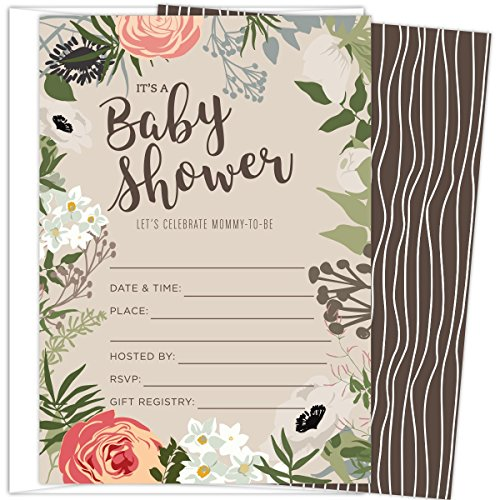 """Koko Paper Co Floral Baby Shower Set of 25 Fill-In Invitations with Envelopes, Gender-Neutral Tan, Light Brown, 4.25"""" x 6"""" Printed on Heavy 140lb Card Stock, Celebrate the Little One On the Way -"""