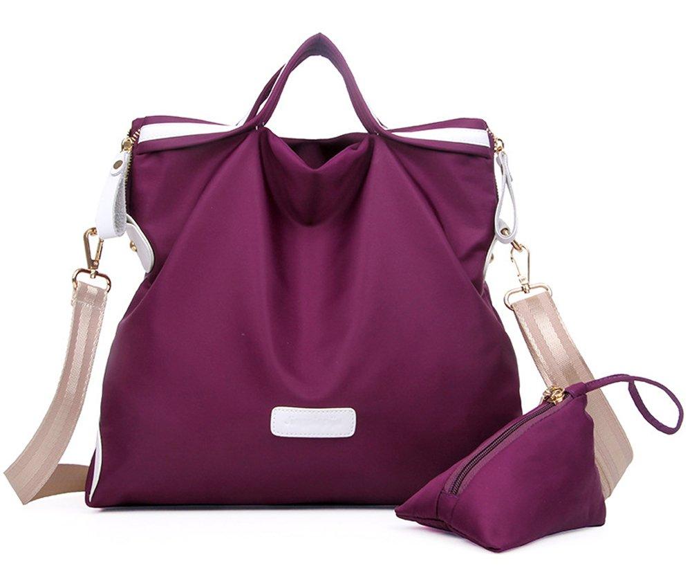 Ecokaki(TM) Fashion Women's Nylon Leather Shoulder Handbag Bags Large Capacity Tote for Travel w/Attached Mini Purse