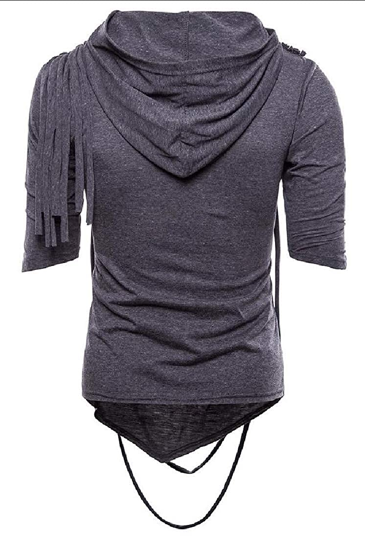 YIhujiuben Mens Cowl Neck 1//2 Hoodies Stylish Hip-Hop Custom Fit Sleeve T-Shirt