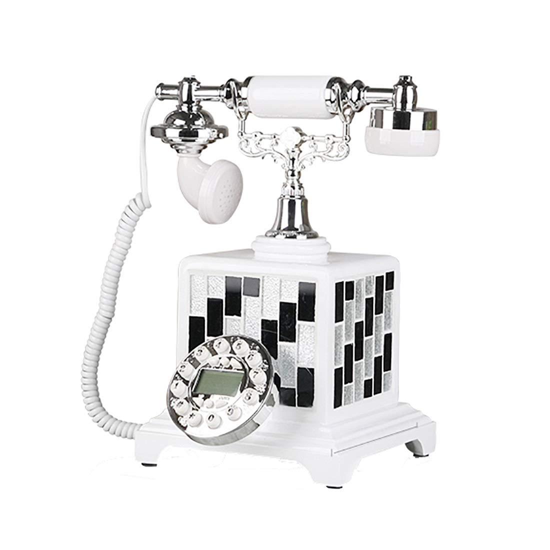 ZHILIAN White Black Simple Fashion Family Landline Fixed Telephone Decorative Phone Metal Frame Plastic Button (Color : B)