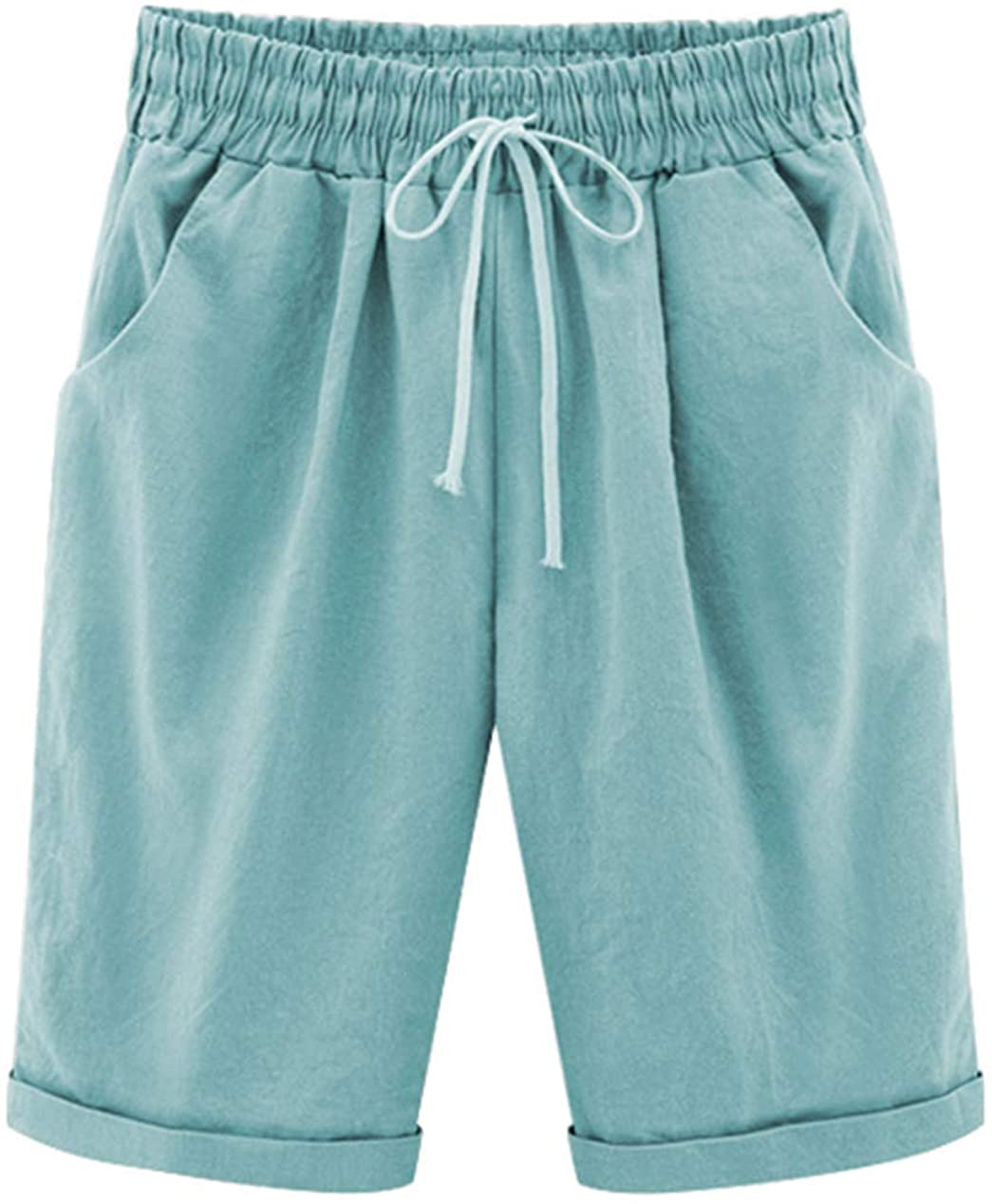 Vcansion Women's Casual Cotton Elastic Waist Knee Length Bermuda Shorts with Drawstring