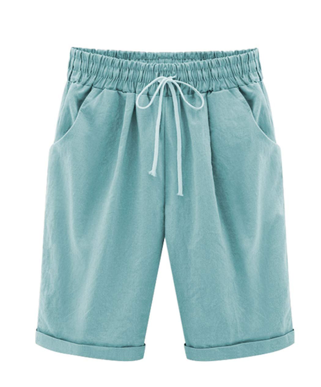 Vcansion Women's Casual Elastic Waist Knee-Length Curling Bermuda Shorts with Drawstring Turquoise Asian 3XL/US 8-10 by Vcansion