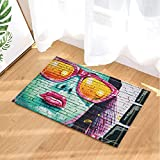 Art Paintings Decor Sex Woman with Red Lips Print on Wall Bath Rugs Non-Slip Doormat Floor Entryways Indoor Front Door Mat Kids Bath Mat 15.7x23.6in Bathroom Accessories